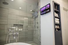 """There are digital controls in the master shower, as well as a remote and a television that is visible from the shower,"" says Jack."