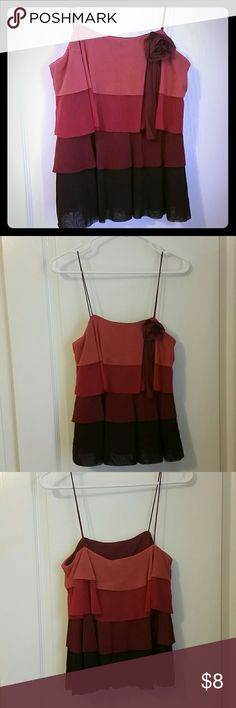 NWT tank top, The Limited, layered red/pink/burg Flirty and fun layered tank top by The Limited. NWT size M. Straps are 7.5 inches long. The layered, soft, flowy fabric is beautiful, 100% nylon. The colored layers begin with a peachy pink and darken to a rich burgandy. Floral pin detail, removable. This top would be great for a party or night out. Message me for details. The Limited Tops Tank Tops