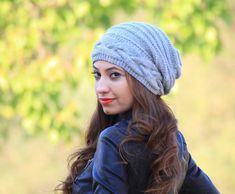 Grey Slouch hat, Slouch knit hat for women, Grey Beanie Hat, Oversized hat, Grey knit hat women, Slouch beanie women
