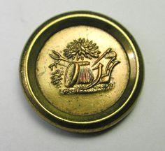 Antique Jacksonian Brass Button Wheat & Farming Tools w/ Back mark 9/16 inch