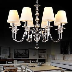 European-Style Modern Crystal Chandelier with Beige Shade (8 Light )