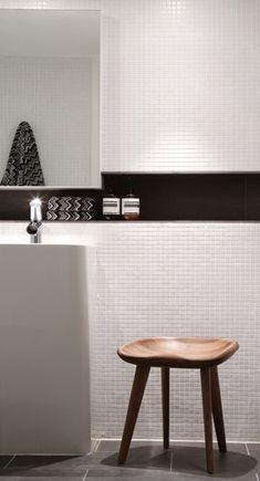 Phorm Interiors The bathrooms in matte white tiles (Majer Tiles)… Wooden Bathroom, Bathroom Shelves, Bath Surround, Modern Bathtub, Relaxing Bathroom, Interior Architecture, Interior Design, Family Bathroom, Bathroom Renovations