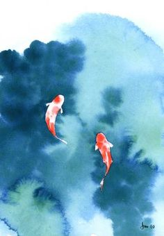 Koi Pond Watercolor 5x7 Print by KitchenFairies on Etsy, $11.00