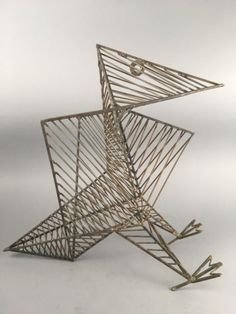 Mid Century Brutalist Modern Cubist Abstract Geometric Wire Bird ...