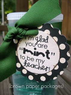 gift for Meet the Teacher night...Super easy with a movie size box of Junior Mints, cute tag, and a bow!