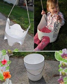 Recycling a paint bucket into a garden swing for kids