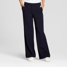 Women's Wide Leg Bi-Stretch Twill Pants - A New Day Federal Blue 16S, Size: 16 Short