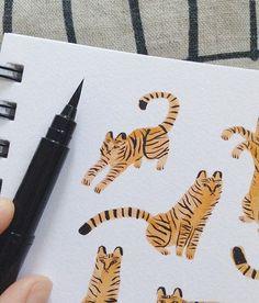 v smol. Cute Drawings, Animal Drawings, Watercolor Tiger, Watercolour, Kids Graphics, Art Diary, Animal Magic, Toy Art, Sketchbook Inspiration