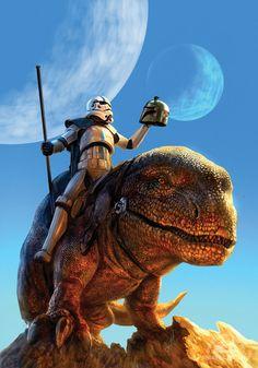 Painting, artist unknown, stormtrooper on Dewback - Star Wars art Star Wars Fan Art, Star Wars Concept Art, Star Wars Sith, Star Trek, Disney Infinity, Star Wars Collection, Stormtrooper, Darth Vader, Cosplay Star Wars