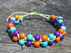 Beaded Shamballa Macrame bracelet Waxed cotton bracelet Happy colorful macrame bracelet Flower power boho jewelry Summer fashion Hippie