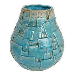 Aqua Basket Ceramic Vase