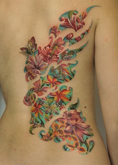 Butterfly with flower tattoo - http://99tattoodesigns.com/butterfly-flower-tattoo/