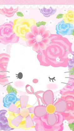 Cute Wallpapers of Hello Kitty pictures)<br> Hello Kitty Iphone Wallpaper, Hello Kitty Backgrounds, Sanrio Wallpaper, Cute Backgrounds, Pink Wallpaper, Cute Wallpapers, Wallpaper Backgrounds, Hello Kitty Drawing, Hello Kitty My Melody