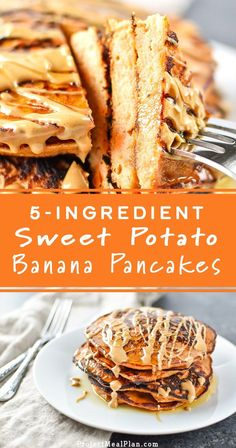 Jun 2018 - Sweet Potato Banana Pancakes - Banana, sweet potato, nut butter, eggs and cinnamon are all you need to make these simple pancakes happen. Pancakes Easy, Pancakes And Waffles, Pancakes Cinnamon, Keto Pancakes, Simple Banana Pancakes, Brunch Recipes, Baby Food Recipes, Cooking Recipes, Sweet Potato Recipes Healthy
