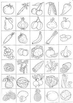 Ovoce a zelenina - omalovánky