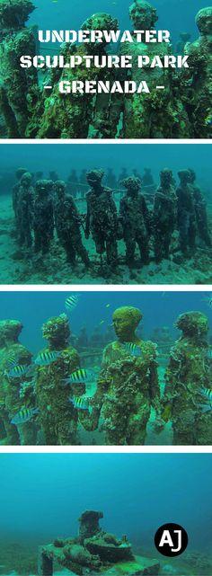 Exploring the Underwater Sculpture Park in Moliniere Point, Grenada.