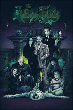 """""""The Addams Family"""" by Vance Kelly Halloween Movies, Halloween Pictures, Halloween Art, The Addams Family, Adams Family, Addams Family Tattoo, Tim Burton Art, Family Poster, Foto Poster"""
