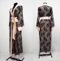 """Пеньюар кимоно с кружевом """"Jasmin"""". Длинный шелковый пеньюар – купить в интернет-магазине на Ярмарке Мастеров с доставкой"""