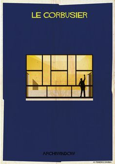 Silhouettes Of Famous Architects Peeking From A Window Of Their Iconic Buildings - DesignTAXI.com