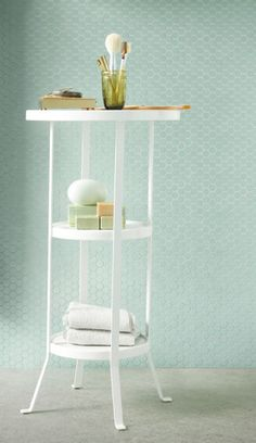 An IKEA GUNNERN pedestal table fit for your bathroom to organize towels, soaps and a glass with makeup brushes. Ikea Bathroom Furniture, Ikea Bathroom Shelves, Bathroom Storage, New Furniture, Ikea Bathroom Accessories, Ikea Storage, Bathroom Cart, Bathroom Cabinets, Bathroom Ideas
