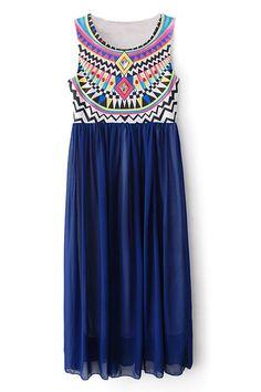ROMWE | Tribal Print Diamante Blue Longling Dress, The Latest Street Fashion