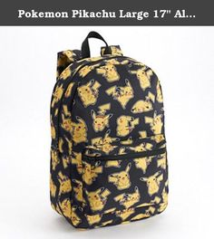 """Pokemon Pikachu Large 17"""" All Over Print Front Pocket Backpack - Black. Pokémon's Pikachu character is featured with this book bag for school or travel. Cute Pikachu Pokémon go character print and durable canvas material. Large zip up compartment for books, laptop or travel items. For boys and girls back to school, pens, pencils, supplies, products and accessories. Character art from the popular Pokémon go Nintendo game and toys. Canvas. Ages 6 and up."""