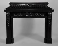 Antique Napoleon III style fireplace with acroterion in Belgian black marble. Available on #MarcMaison website #fireplace #mantel #frenchstyle #decor #interior #decoration #19thcentury #antique