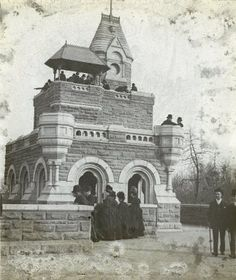 Title:  Central Park - Belvedere Castle and Park Visitors  Subject:  Parks  Subject:  Parks--Central Park  Subject:  Belvedere Castle  Description:  Victorian men and women enjoying the view from Belvedere Castle, perhaps soon after its construction in 1870.