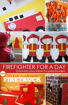 So many wonderful firefighter dramatic play ideas to do with the kids! Preschool Learning Activities, Fun Activities For Kids, Hands On Activities, Kids Learning, Firefighter Dramatic Play, Firefighter Crafts, Dramatic Play Centers, Learning Through Play, Play Ideas
