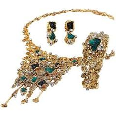 1960s Patek Philippe Necklace Watch and Earrings Set designed by Gilbert Albert