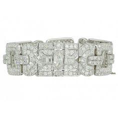 Retro Diamond Bracelet in Platinum ❤ liked on Polyvore featuring jewelry, bracelets, platinum jewellery, diamond bangle, platinum bangle, retro jewelry and diamond jewellery