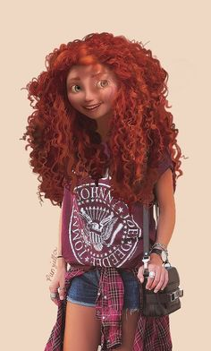 Merida's hair is still her best accessory. | This Is What Disney Characters Would Look Like In The Modern World