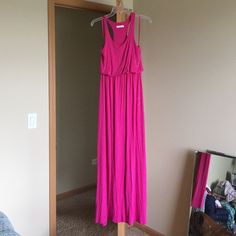 """Maxi dress sale extra savings ends tmrw ' Worn once.. Am I the only girl who is too darn short for maxis . This dress is soft and stretchy and and made of 95% viscose 5% spandex . The top has extra material to give it that baggy look . So probably forgiving with you lucky busty gals. :). No flaws like new condition . Elastic waist . 60"""" long Lush Dresses Maxi"""
