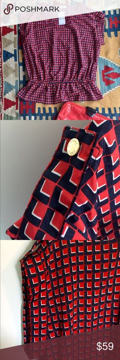 Michael Kors Blouse, NWT Very cute MICHAEL Michael Kors capped-sleeve blouse with gold button trim & a gathered waist. Red, navy, & white pattern. Brand new with tags, never worn, excellent condition! MICHAEL Michael Kors Tops Blouses