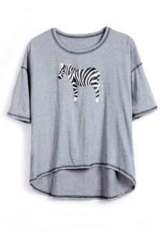 Grey Short Sleeve Zebra Print Dipped Hem T-Shirt - Sheinside.com