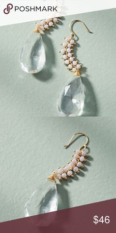 """Anthropologie Baltic Drop Dangle Earrings NWT Brand new with tag!  Details: Style No. 44405702 ; Color Code: 010 Plated metal, glass beads Dimensions 2.5""""L, 0.25""""W Clear color. Simply beautiful , lovely the movement and dangle with the clear glass combination! Anthropologie Jewelry Earrings"""