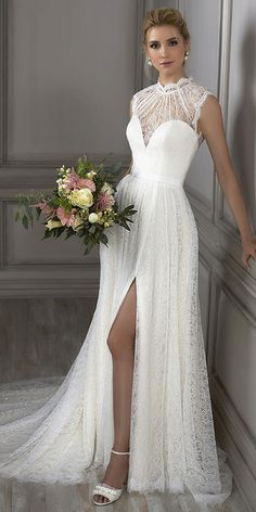 Romantic Lace Illusion High Collar A-line Wedding Dress With Sequins & Belt