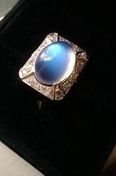 SALE True Art Deco Gatsby Era Blue Moonstone by MrsGotrocksJewelry
