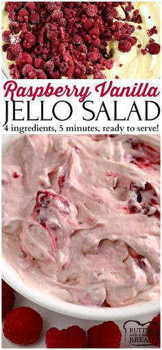 Raspberry Vanilla Jello Salad - is one of the easiest (and yummiest!) recipes you will ever make. Only 4 ingredients, and within a few minutes it is ready to serve! This is perfect as a side dish or even a dessert! #jello #vanillapudding #easyrecipe #recipe #raspberries Butter With a Side of Bread