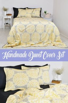 Made of soft cotton, high quality ranforce fabric. This 6 pcs set includes black, yellow, silver moroccan tile pattern duvet cover with black piping, 2 printed pillow cases with black piping, 1 plain black flat sheet, 2 plain black pillow shams. Duvet Cover: Full/Double 80 W x 88 L (200x220cm) Black Pillows, Linen Pillows, Bed Pillows, Homemade Duvet Covers, Damask Bedroom, Master Bedroom, Geometric Bedding, Pillow Cases, Pillow Shams