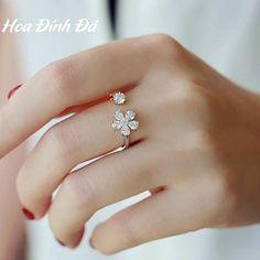 Nhẫn Hoa đính đá - 160k - #freeship  #nhẫnbạc #bạc #pnj #rings #nhẫn