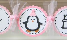 handmade PENGUIN happy birthday party banner. $24.95, via Etsy.