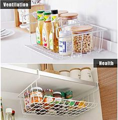 Amazon.com - Sanlinkee 2 Pack Tackable Hanging Baskets, Under Shelf Hanging Wire Storage Basket Stackable Hanging Basket for Kitchen, Pantry, Cabinet, White -