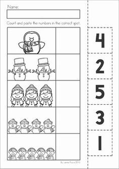 Winter Preschool Math and Literacy No Prep worksheets and activities. A page from the unit: cut and paste the numbers