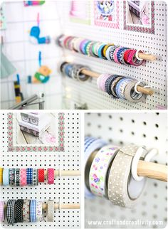 An easy DIY craft pegboard with inexpensive materials—the hooks are good idea, as you can easily remove a roll of Washi (or ribbon) Craft & Creativity
