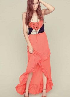 Multi Longer Lengths Dress - Hi-Low Maxi Dress with Navy | UsTrendy