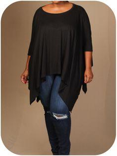 New Plus Size Black 3/4 Sleeve Draped Poncho Tunic Top Size 3X