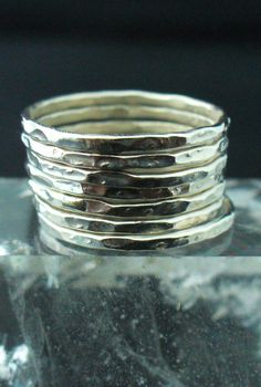 Sterling Silver Hammered 7 Band Stack Ring Set by forkwhisperer