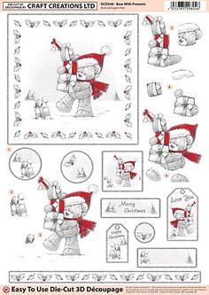Craft Creations A4 die cut decoupage - Bear with Snowman, Christmas