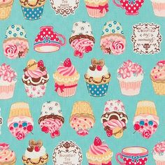 Cupcakes teacups blue Quilt Fabric.. Cupcakes and teacups on blue novelty fabric by Cosmo 100% Cotton Decor   - See more at: http://www.theozmaterialgirls.com/cupcakes-teacups-blue-p-7940.html#sthash.zFLlOL0m.dpuf